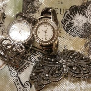 2 bracelet watches and hair clip